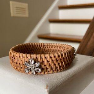 Anthropologie Wicker Rhinestone Bangle Bracelet